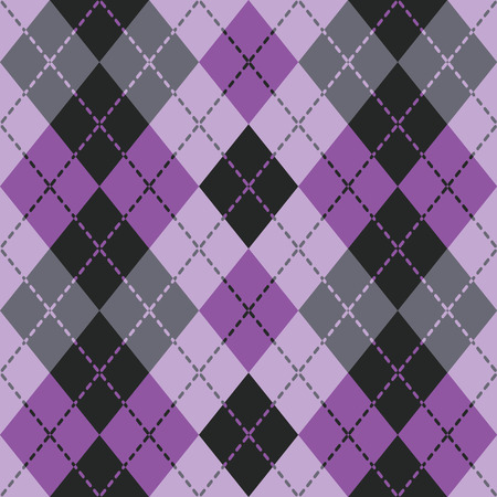 preppy: Dashed Argyle in Purple and Black repeats seamlessly.