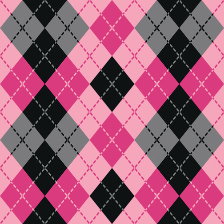 plaid: Dashed Argyle in Pink and Black repeats seamlessly. Illustration