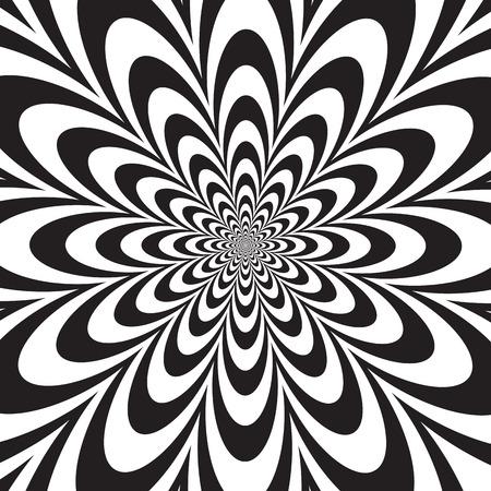 arte optico: Diseño de la flor del arte de Op Infinito en blanco y negro.