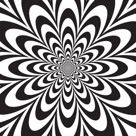 expanding: Infinite Flower Op Art design in black and white. Illustration