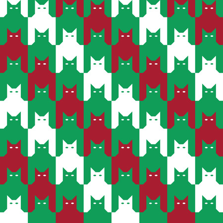 diagonal: Christmas Cats Houndstooth Pattern with diagonal stripes, in red, green and white repeats seamlessly. Illustration