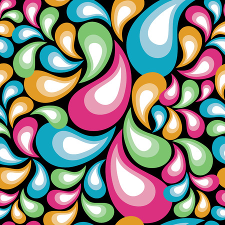 teardrop: Pattern of colorful organic shapes repeats seamlessly.