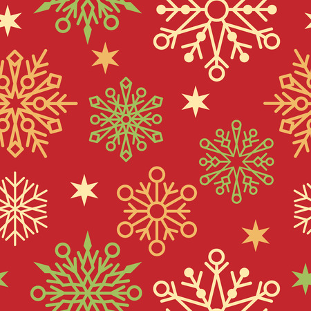 x mas: Seamless pattern of snowflake designs on a red background. Illustration