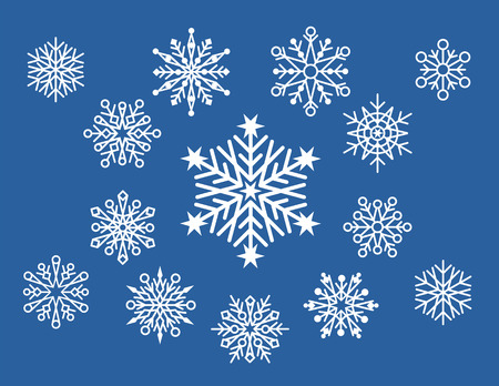 sheer: Collection of 14 unique snowflake designs on a blue background.