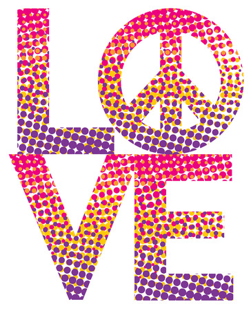 LOVE with a peace symbol, in a colorful haltone dot pattern. Illustration