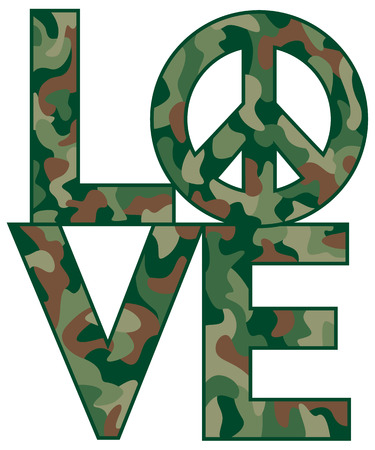 Text design of LOVE with Peace Symbol in a classiccamouflage pattern. Ilustrace