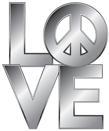 peace symbol: Type design of the word, love, with  peace symbol in a glossy silver..