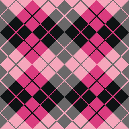 Seamless argyle pattern in pink and black.