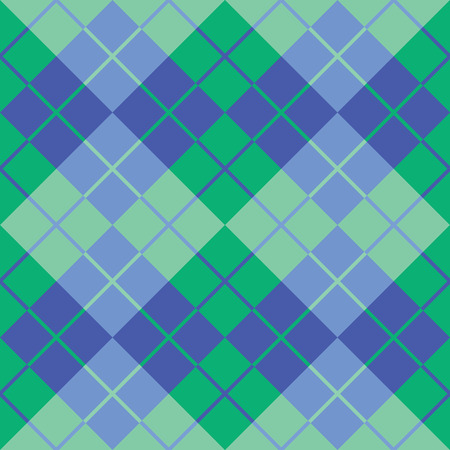 Seamless argyle pattern in blue and green. Vector