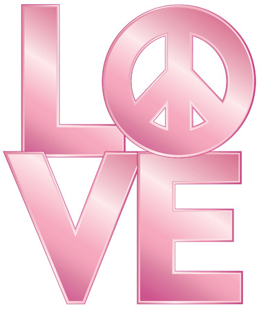 peace symbol: LOVE text design with a peace symbol in a glossy pink gradient.