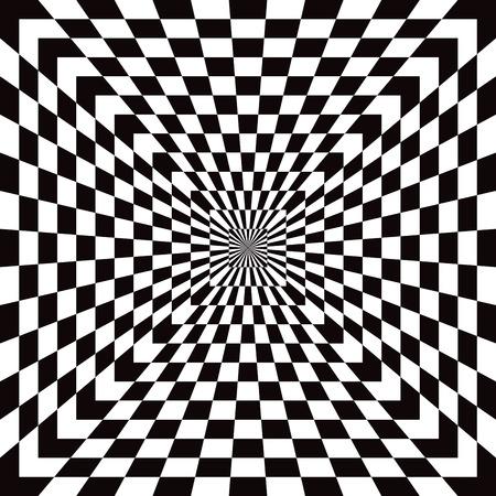 黒と白の古典的な市松模様の光学錯覚パターン  イラスト・ベクター素材