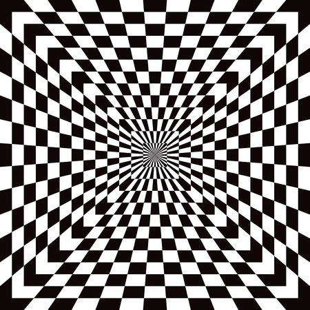 vanishing point: Classic Checkered Optical Illusion pattern in black and white