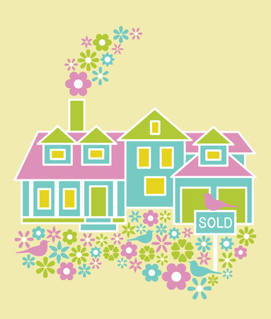 homes for sale: Home For Sale vector illustration with flowers and birds. Illustration