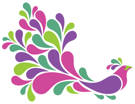 Retro-styled illustration of a bird with colorful plumage. Illustration