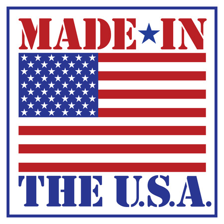 made: Made in the U.S.A. text design with the American flag.