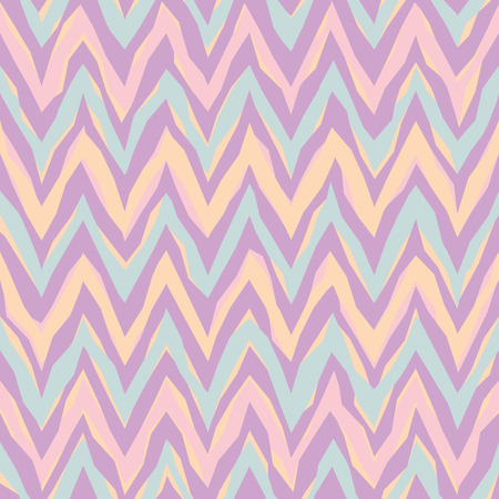 textiles: Free-form abstract zigzag pattern in pastel colors repeats seamlessly.