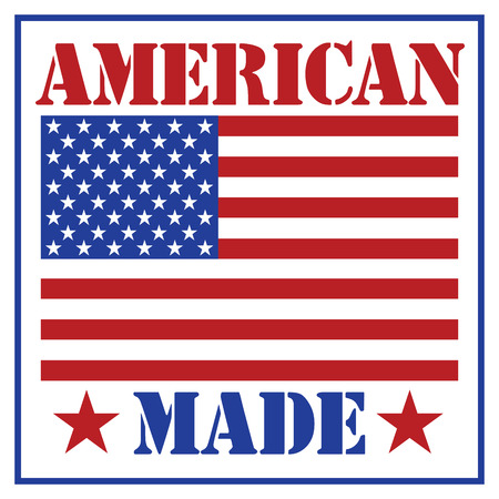 American Made text design with the American flag.