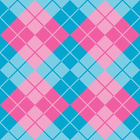 Seamless argyle pattern in alternating colors of pink and blue. Illustration