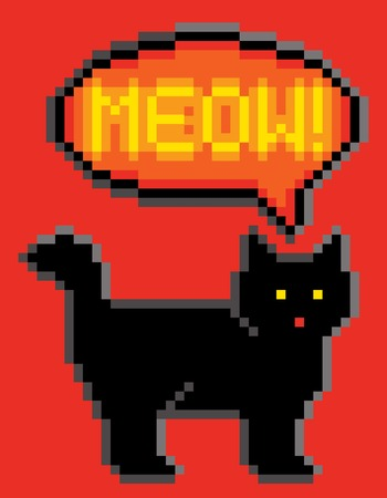 8bit: Meowing black cat illustrated in 8-bit computer gaming style.