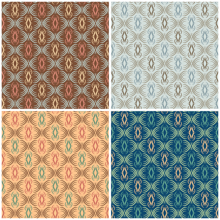 repeats: Abstract Scroll Pattern in four colorways repeats seamlessly.