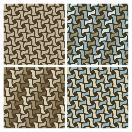 Seamless basket weave pattern set. Tiles are on separate layers, grouped by color and in the swatches panel.