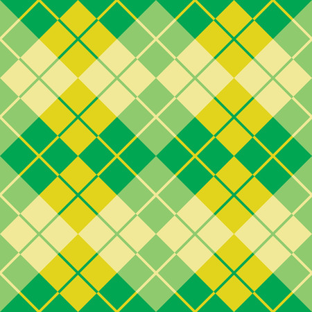 Seamless argyle pattern in alternating colors of yellow and green. Illustration