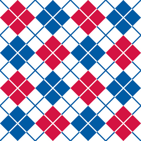 Classic squared argyle pattern in red, white and blue repeats seamlessly.
