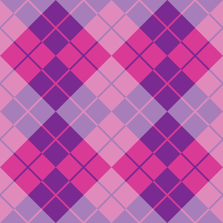 Classic argyle pattern in alternating colors of purple and pink repeats seamlessly. Illustration