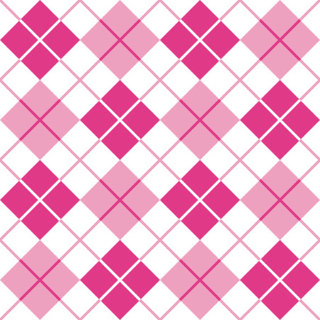Classic argyle pattern in alternating shades of pink repeats seamlessly. Illustration