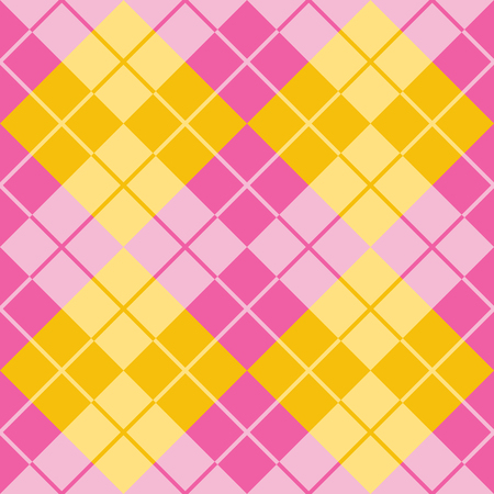 Classic argyle pattern in alternating colors of pink and yellow repeats seamlessly.
