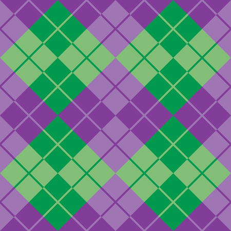 Classic argyle pattern in alternating colors of purple and green repeats seamlessly.