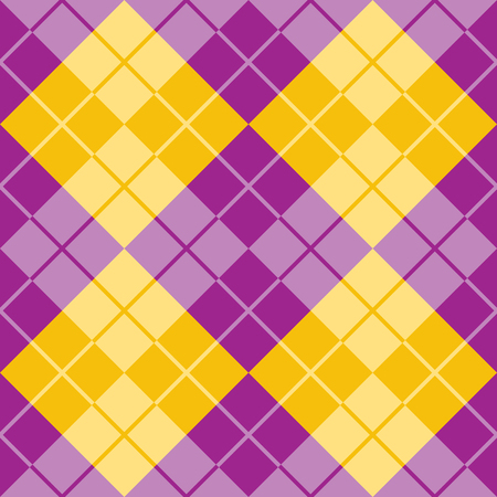 Classic argyle pattern in alternating colors of purple and yellow repeats seamlessly.