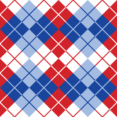 Seamless argyle pattern in alternating colors of red, white and blue.
