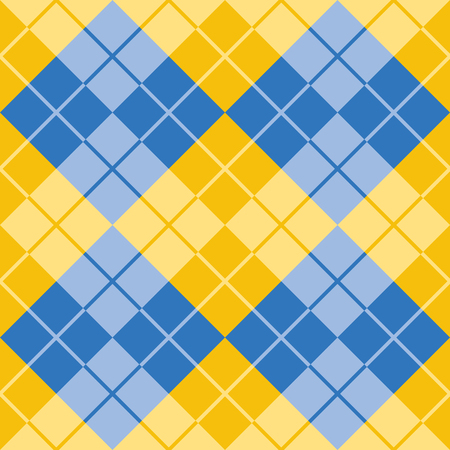 Classic argyle pattern in alternating colors of blue and yellow repeats seamlessly.