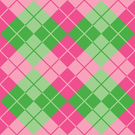 Classic argyle pattern in alternating colors of pink and green repeats seamlessly.