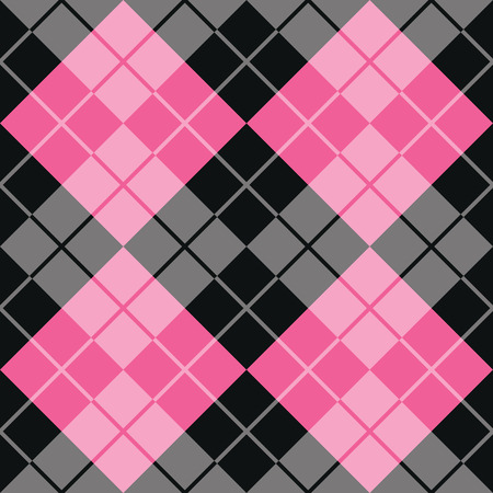 Classic argyle pattern in alternating colors of pink and black repeats seamlessly.