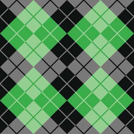Classic argyle pattern in alternating colors of green and black repeats seamlessly. Illustration