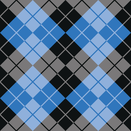 Classic argyle pattern in alternating colors of blue and black repeats seamlessly.
