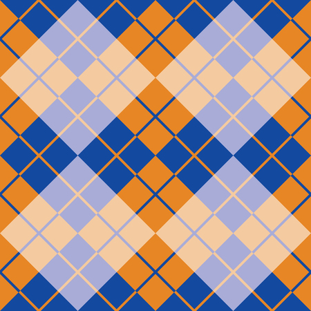 Classic argyle pattern in alternating colors of blue and orange repeats seamlessly.