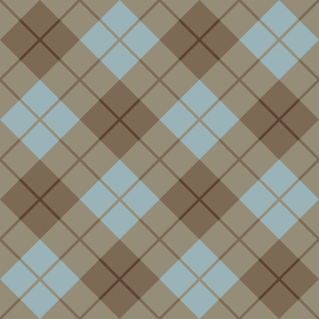 Bias Plaid in Blue and Brown repeats seamlessly. Ilustrace