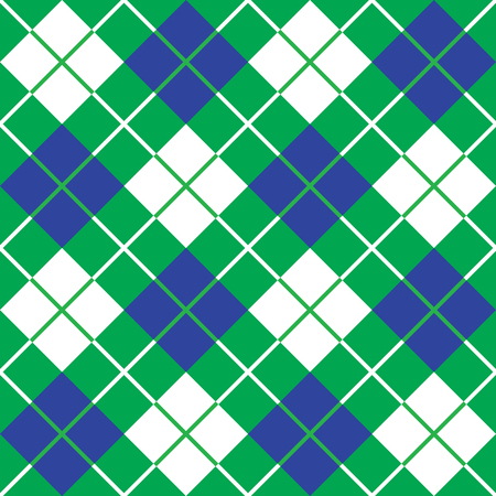 Argyle plaid in blue and green repeats seamlessly. Reklamní fotografie - 56899713