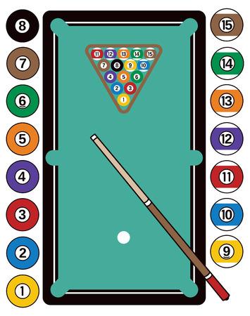 Illustration d'une table de billard, avec des boules de billard, cue bâton et crémaillère. Banque d'images - 56899716