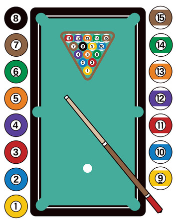 Illustration of a pool table, complete with billiard balls, cue stick and rack. Ilustracja