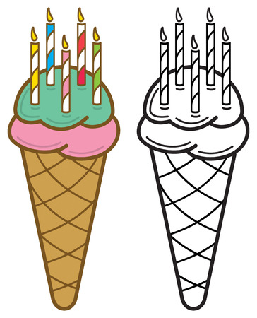 Illustration of an ice cream cone with lit birthday candles in color, and in black and white.