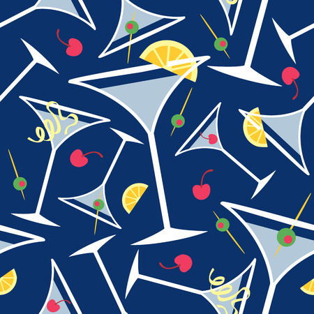Seamless pattern of martini glasses with popular garnishes on a blue background.