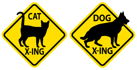 Caution crossing road signs of a cat and a dog.