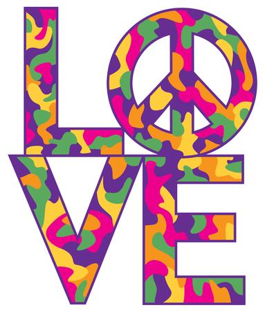 simbolo della pace: disegno di testo di amore con il simbolo della pace in un modello di camuffamento colorato.