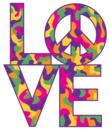 Text design of LOVE with Peace Symbol in a colorful camouflage pattern.