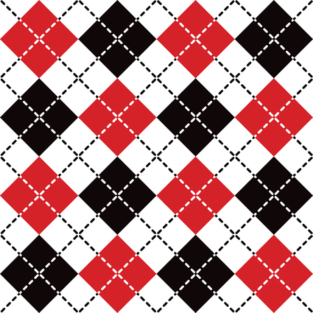 Seamless argyle pattern with dashed lines in red, black and white. Elements are grouped by color. Pattern is in Swatches Palette.