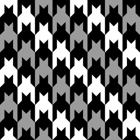 Houndstooth pattern with diagonal stripes of black, white and grey repeats seamlessly. Colors are grouped for easy editing.